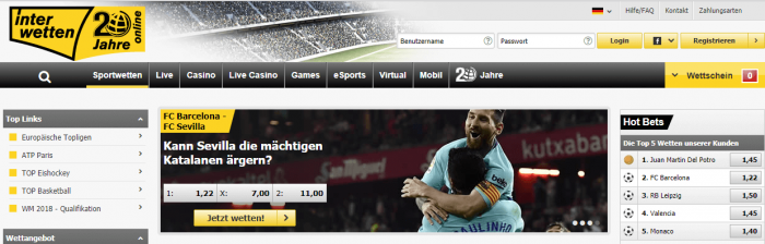 Interwetten Sportangebot